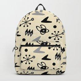 Mid Century Modern Atomic Boomerang Pattern Grey 101 Backpack
