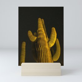 Giant Saguaro Tree at Night with Starry Sky, Night Photography, Joshua Tree National Park, Desert Landscape, Cacti Art Mini Art Print