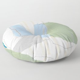 stone by stone 1 - abstract art fresh color turquoise, mint, purple, white, gray Floor Pillow