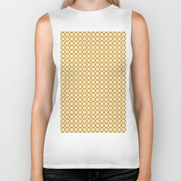 Ivory white brown geometrical abstract squares pattern Biker Tank