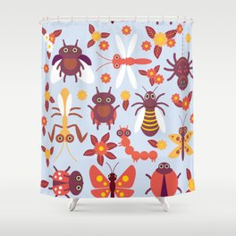 Funny insects Spider butterfly caterpillar dragonfly mantis beetle wasp ladybugs Shower Curtain