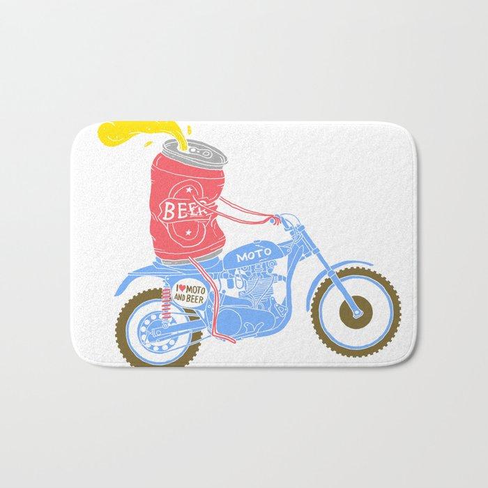 I love moto and beer Bath Mat