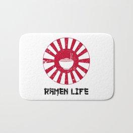 Ramen Life Japanese Noodles Lover Vintage Retro Style Japan Flag Bath Mat