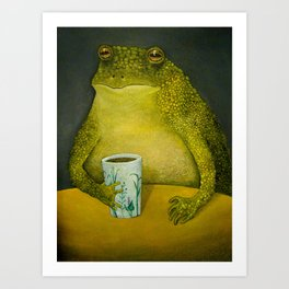 Toad's morning cup Art Print