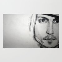 johnny depp Area & Throw Rugs featuring Johnny Depp by Miss Midnight
