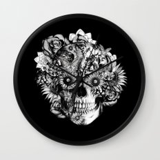 Floral Ohm skull from hand and digital illustration.  Wall Clock