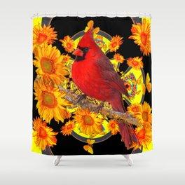 RED CARDINAL SUNFLOWERS BLACK ART Shower Curtain