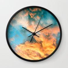 Blue Sunset Clouds  Wall Clock