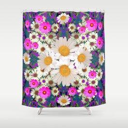 DAISIES & FUCHSIA COSMO FLOWER GARDEN Shower Curtain