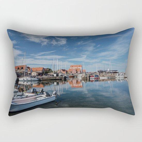 Nordish harbour - Marina at the Sea Bornholm Island Sky Clouds #Society6 Rectangular Pillow