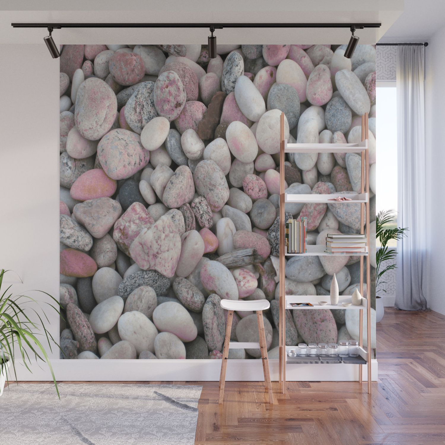 Pink Gray Rocks Wall Mural By Vintageby2sweet Society6