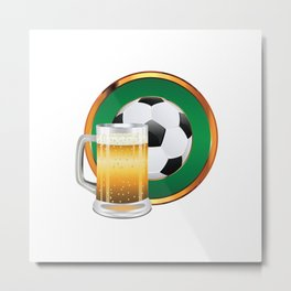 Beer and Soccer Ball in green circle Metal Print