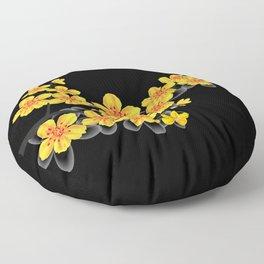 oriental orange sakura flower Floor Pillow