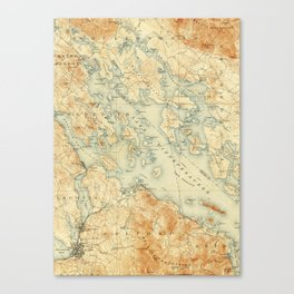 Vintage Map of Lake Winnipesaukee (1907) Canvas Print