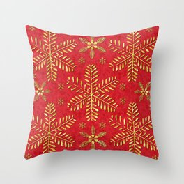 DP044-2 Gold snowflakes on red Throw Pillow