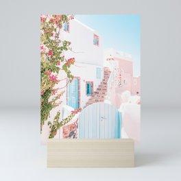 Santorini Greece Mamma Mia Pink House Travel Photography in hd. Mini Art Print