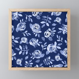 Hand painted navy blue white watercolor floral roses pattern Framed Mini Art Print