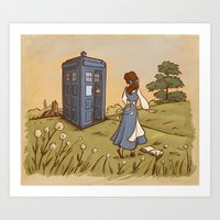 hallion Art Prints featuring Adventure in the Great Wide Somewhere by Karen Hallion Illustrations