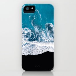 Black sand beach with waves and blue Ocean in Iceland – Minimal Photography iPhone Case