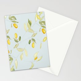 Watercolor Kumquat with Blue Background Stationery Cards