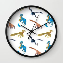 Repeating Dino Pattern Wall Clock
