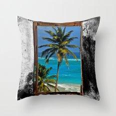 WINDOW ON PARADISE Throw Pillow
