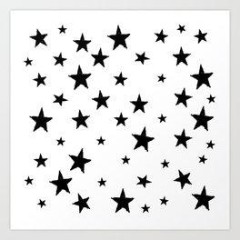 Hand-Drawn Stars (Black & White Pattern) Art Print