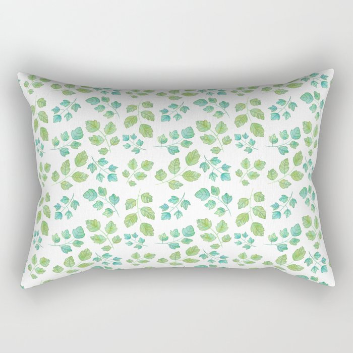 Summer Leaf Watercolor Rectangular Pillow