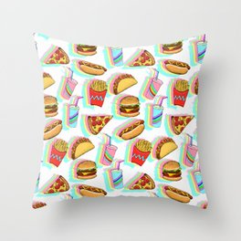 Rainbow Fast Food Throw Pillow