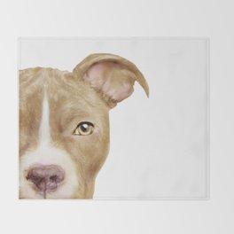Pitbull light brown Dog illustration original painting print Throw Blanket
