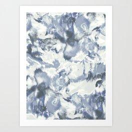 Marble Mist Blue Slate Art Print