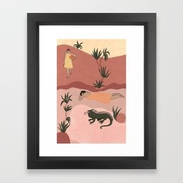 Sisters and Iguana Framed Art Print