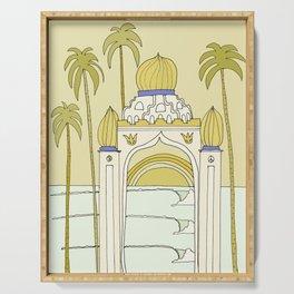 temple of peace swamis encinitas california // retro surf art by surfy birdy Serving Tray