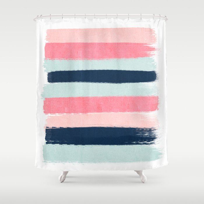 navy and coral shower curtain. Striped Painted Coral Mint Navy Pink Pattern Stripes Minimalist Shower  Curtain