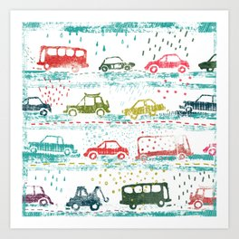cars in the rain Art Print