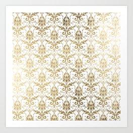 Elegant vintage white faux gold floral boutique damask Art Print