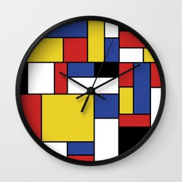 Mondrian Geometric Art Wall Clock