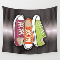 shoes Wall Tapestries featuring Running Shoes, Tennis Shoes, Sneakers by Tees2go