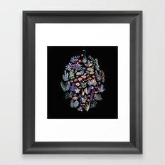 flower circle in black Framed Art Print