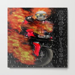 Fire Man Ghost Rider Metal Print