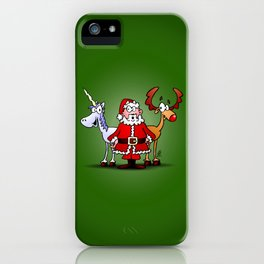 Santa Claus, his reindeer and a unicorn iPhone Case
