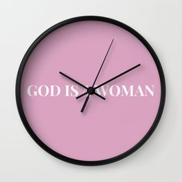 God is a woman by Ariana – pink white Wall Clock