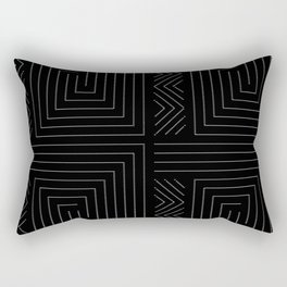 Faux Quilt Black And White Rectangular Pillow