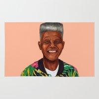 mandela Area & Throw Rugs featuring Hipstory - Nelson Mandela by Amit Shimoni