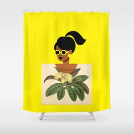 Ponytail Girl with Nature Shirt Shower Curtain
