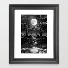 XVIII. The Moon Tarot Card Illustration Framed Art Print
