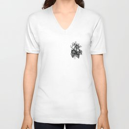 black flowers Unisex V-Neck