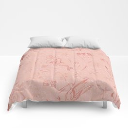 Modern hand painted pink coral watercolor chinese pattern Comforters