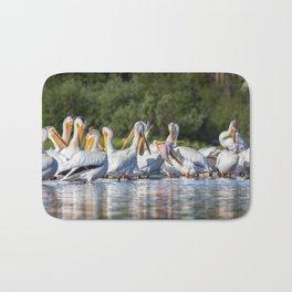 American White Pelicans Grooming at Shadow Mountain Lake in Grand Lake, Colorado Bath Mat