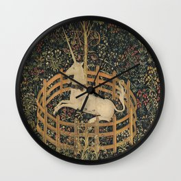 Vintage Fenced in Unicorn Painting (1505) Wall Clock